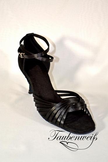 Lateinschuh TW0014LA - Damen Latein Tanzschuh Sandalette Satin schwarz Riemchen Salsa 1