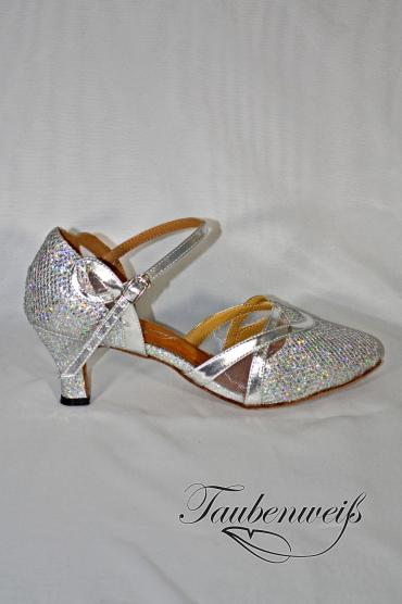 Lateinschuh TW0024LA - Lateinschuh TW0024LA Damen Latein Tanzschuh Pumps Tango silber glitter Fersenriemchen 1
