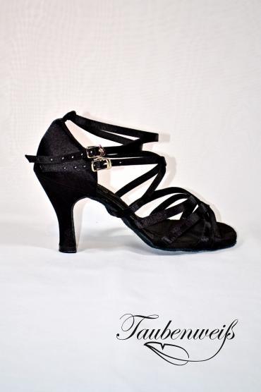 Lateinschuh TW0028LA - Lateinschuh TW0028LA Damen Latein Tanzschuh Sandalette Satin schwarz Salsa Riemchen 1