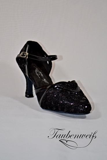 Tangoschuh TW0009TG - Damen Tanzschuh Pumps Tango schwarz glitter Fersenriemchen 1