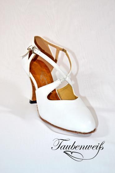 Tangoschuh TW0018TG - Damen Echtleder Tanzschuh Pumps Tango Kreuzristriemchen weiß 1