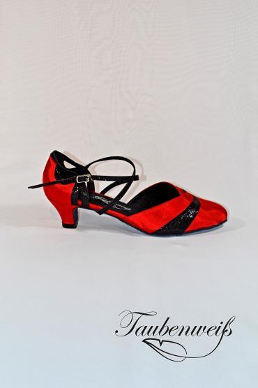Tangoschuh TW0020TG - Damen Tango Tanzschuh schwarz rot Kreuzristriemchen 1