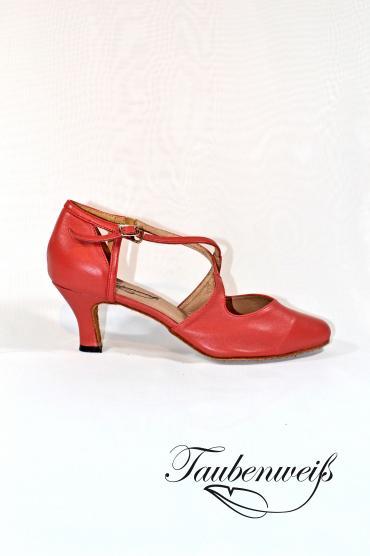 Tangoschuh TW0021TG - Damen Echtleder Tango Tanzschuh Pumps Kreuzristriemchen hummer 1