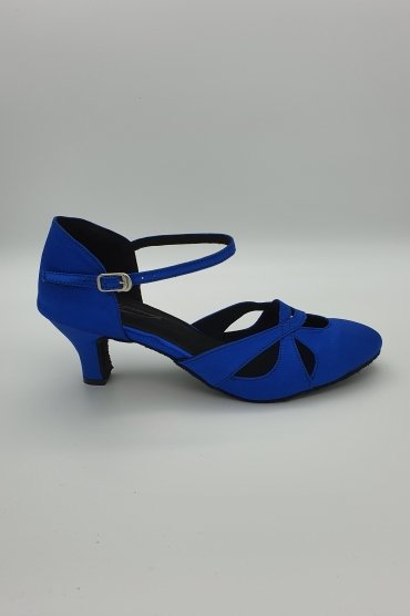 Tangoschuhe D0008LA - Damen Tanzschuh Pumps Tango elegant Satin blau Fersenriemchen 1